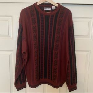 Bachrac Sweater Burgundy & Black Made in Italy L